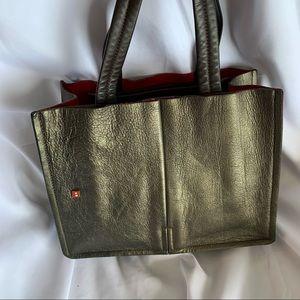 BALLY Brown Metallic Medium Leather Tote